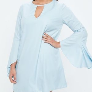 Missguided Dresses   Plus Size Baby Blue Frill Sleeve Bar Detail ...